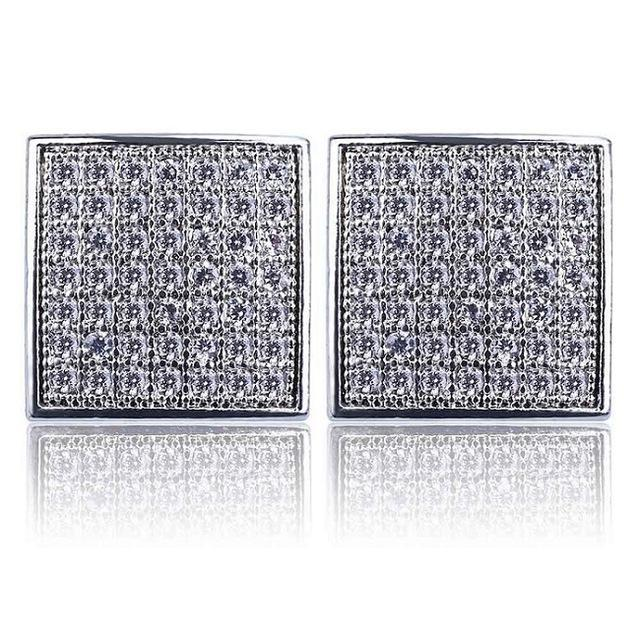 World Shine Earring Default Title Iced Out Square Stud Earrings Silver 10x10mm