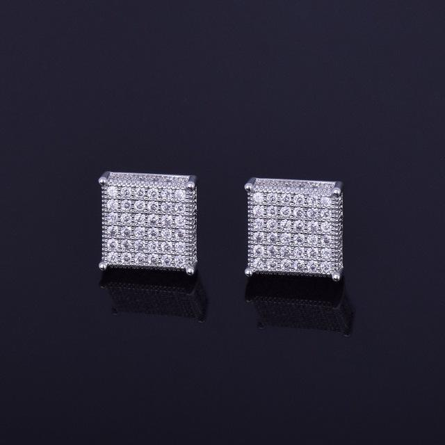 World Shine Earring Default Title Iced Out Square Stud Earrings Silver 12x12mm