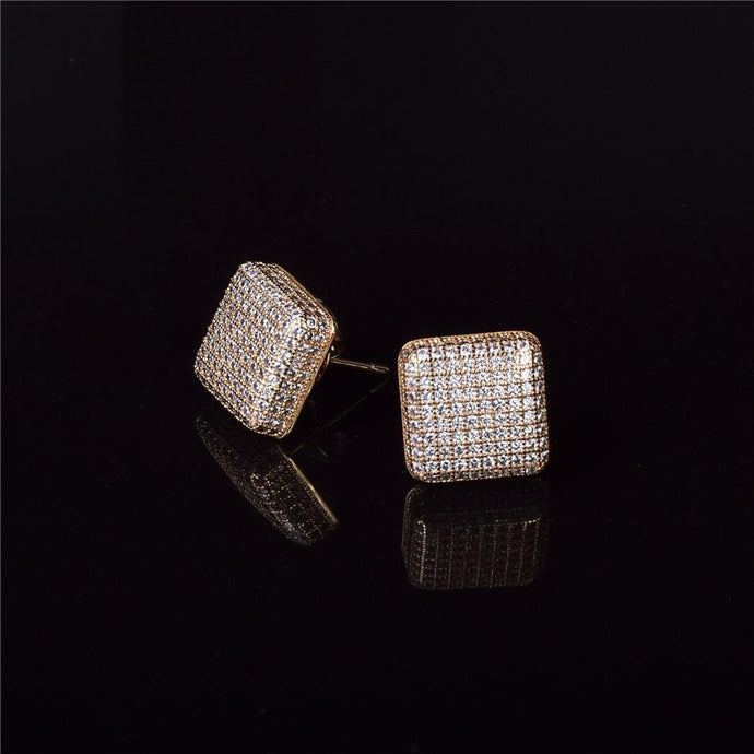 World Shine Earring Iced Out Square Stud Earring 12x12mm