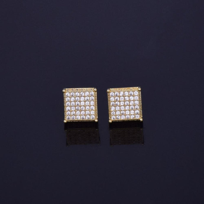 World Shine Earring Iced Out Square Stud Earrings Gold 12x12mm
