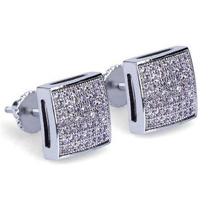 World Shine Earring Iced Out Square Stud Earrings Silver 10x10mm