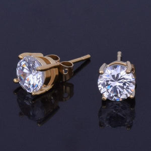 World Shine Earring Iced Out Stud Round Gold Earring 7mm