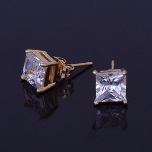 World Shine Earring Iced Out Stud Square Gold Earring 7mm
