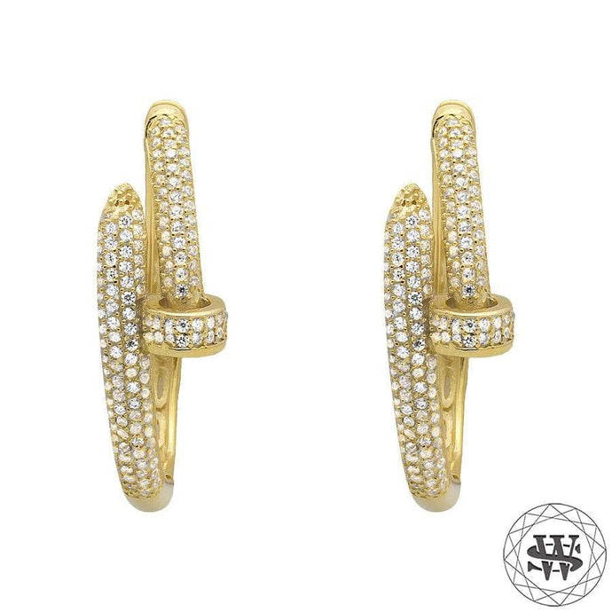 World Shine Earring Large : 32mm Long / 4mm Wide Premium 925 Sterling Silver Yellow Gold Finish Simulated Diamond Nail Style Hoop Earring 25/32 mm