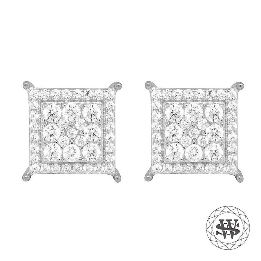 World Shine Earring Premium 925 Sterling Silver White Gold Finish Lab Diamond Square Studs Earrings 11mm