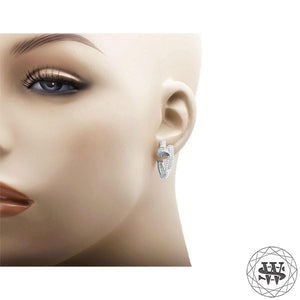 World Shine Earring Premium 925 Sterling Silver White Gold Finish Simulated Diamond Nail Style Hoop Earrings 25/32 mm