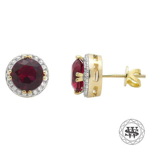 World Shine Earring Premium 925 Sterling Silver Yellow Gold Finish Halo Royal Ruby Gemstone Simulated Diamond Earrings 7.5mm