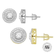 World Shine Earring Premium 925 Sterling Silver Yellow Gold Finish Lab Diamond Halo Cluster Studs Earring 11mm