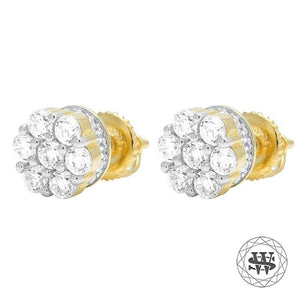 World Shine Earring Premium 925 Sterling Silver Yellow Gold Finish Simulated Big 3D Diamond Earrings 8mm