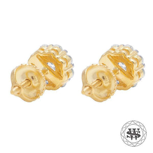 World Shine Earring Premium 925 Sterling Silver Yellow Gold Finish Simulated Diamond 3D Prong Cluster Earrings 5mm