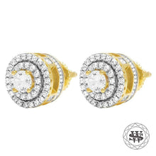 World Shine Earring Premium 925 Sterling Silver Yellow Gold Finish Simulated Diamond 3D Royal Earring 10mm