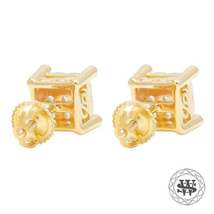 World Shine Earring Premium 925 Sterling Silver Yellow Gold Finish Simulated Diamond Iced Prong Earrings 6mm