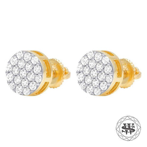 World Shine Earring Premium 925 Sterling Silver Yellow Gold Finish Simulated Diamond Iced Round Earrings 7mm