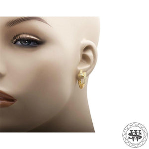 World Shine Earring Premium 925 Sterling Silver Yellow Gold Finish Simulated Diamond Nail Style Hoop Earring 25/32 mm