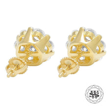 World Shine Earring Premium 925 Sterling Silver Yellow Gold Finish Simulated Diamond Prong Cluster Earring 7mm