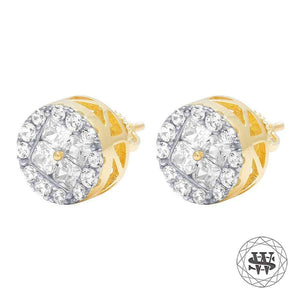 World Shine Earring Premium 925 Sterling Silver Yellow Gold Finish Simulated Diamond Round Cluster Earring 9mm