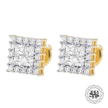 World Shine Earring Premium 925 Sterling Silver Yellow Gold Finish Simulated Diamond Square Shine Earrings 7mm
