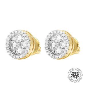 World Shine Earring Premium 925 Sterling Silver Yellow Gold Finish Simulated Hight Clarity Diamond Earrings 9/10 mm