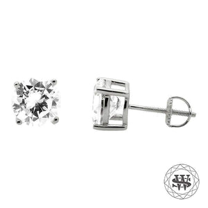 World Shine Earring Premium Clarity 925 Sterling Silver White Gold Finish Simulated Diamond Stud Earring 5/7/8.5 mm
