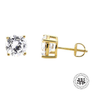 World Shine Earring Premium Clarity 925 Sterling Silver Yellow Gold Finish Simulated Diamond Stud Earring 5/7/8.5 mm