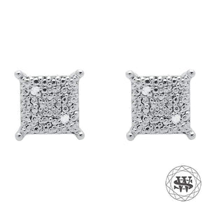 World Shine Earring Premium Exclusive 2 Pairs of White Gold Finished with Real Diamond Square Stud Earrings 9mm 0.10ct