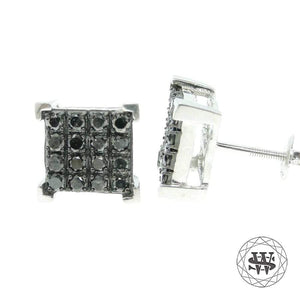 World Shine Earring Premium Exclusive 925 Sterling Silver White Gold Finish With Big Real Black Diamond 1.20ct 4 Prong Earrings 18mm
