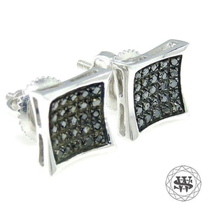 World Shine Earring Premium Exclusive 925 Sterling Silver White Gold Finish With Real Black Diamond Earrings 8 mm