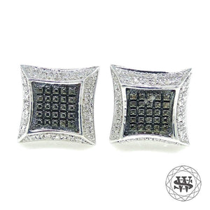World Shine Earring Premium Exclusive 925 Sterling Silver White Gold Finish With Real Black/White Diamond Earrings 9mm