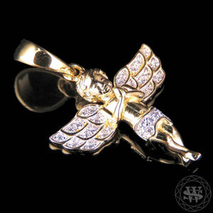 "World Shine Pendant 1.1"" / 2.79 cm Premium 925 Sterling Silver Yellow Gold Finish Lab Diamonds Praying Hands Angel Charm Pendant 1.1"""