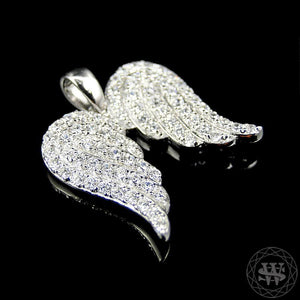 "World Shine Pendant 1"" / 2.54 cm Premium 925 Sterling Silver 14K White Gold Finish Simulated Lab Diamond Angel Wing Pendant 1"""