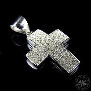 "World Shine Pendant 1"" / 2.54 cm Premium 925 Sterling Silver White Gold Finish Simulated Diamond Short Pave Set Cross Pendant"