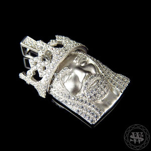 "World Shine Pendant 1.25"" / 3.17 cm Premium 925 Sterling Silver White Gold Finish Lab Diamond Crowned Jesus Piece Pendant 1.25"""