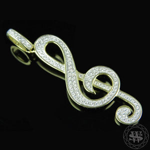 "World Shine Pendant 1.25"" / 3.17 Premium 925 Sterling Silver Yellow Gold Finish Lab Diamond Musical Note Pendant 1.25"""