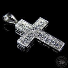 "World Shine Pendant 1.5"" / 3.81 cm Premium 925 Sterling Silver White Gold Finish Lab Diamond Channel Prong Set Cross Pendant 1.5"""