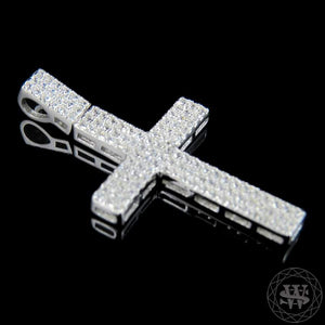 "World Shine Pendant 1.5 "" / 3.81 cm Premium 925 Sterling Silver White Gold Finish Simulated Diamond Shine Cross Pendant 1.5"""