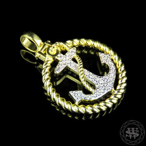 "World Shine Pendant 1.5"" / 3.81 cm Premium 925 Sterling Silver Yellow Gold Finish Lab Diamond Anchor Rope Border Pendant 1.5"""