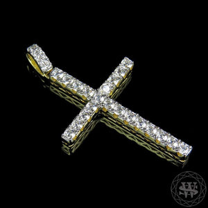 "World Shine Pendant 1.5"" / 3.81 cm Premium 925 Sterling Silver Yellow Gold Finish Simulated Diamond One Row Cross Pendant 1.5"""