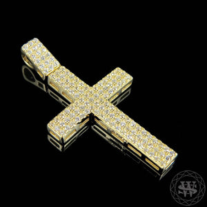 "World Shine Pendant 1.5"" / 3.81 cm Premium 925 Sterling Silver Yellow Gold Finish Simulated Diamond Shine Cross Charm Pendant 1.5"""