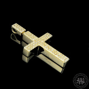 "World Shine Pendant 1.6"" / 4.06 cm Premium 925 Sterling Silver Yellow Gold Finish Big Block Cross Pendant 1.6"""