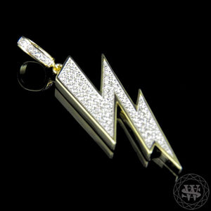 "World Shine Pendant 1.6"" / 4.06 cm Premium 925 Sterling Silver Yellow Gold Finish Lab Diamond Thunder Lightning Pendant 1.6"""