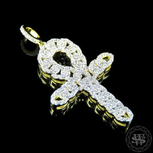 "World Shine Pendant 1.75"" / 4.45 cm Premium 925 Sterling Silver Yellow Gold Finish Simulated Diamond Cuban Egyptian Ankh Cross Pendant 1.75"""