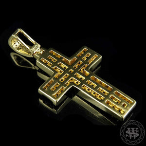 World Shine Pendant Classic High Quality Brass Two Row White Diamond Yellow Gold Finish Cross Pendant