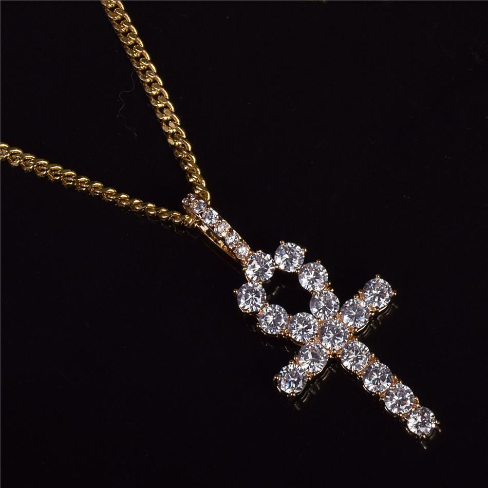 World Shine Pendant Gold / Cuban Chain / 20 inch Iced Out Ankh Cross Pendant Gold