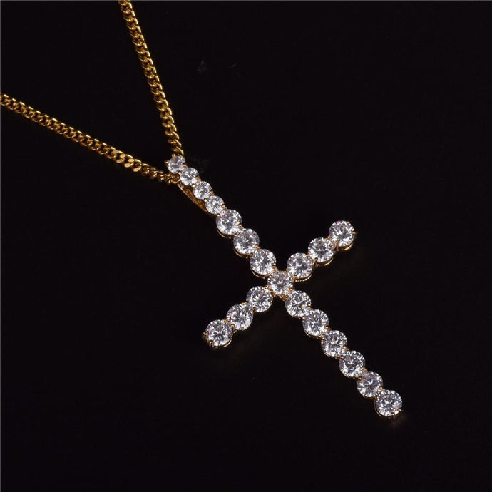 World Shine Pendant Gold / Rope Chain / 20 inch Iced Out XL Cross Pendant Gold
