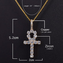World Shine Pendant Iced Out Ankh Cross Pendant Gold