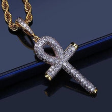 World Shine Pendant Iced Out Ankh Cross Pendant Gold / Diamond
