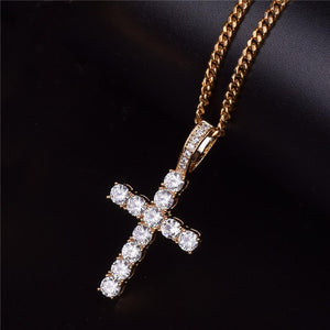 World Shine Pendant Iced Out Cross Pendant Gold