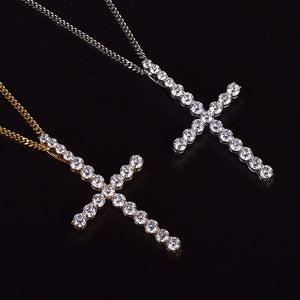 World Shine Pendant Iced Out XL Cross Pendant Silver
