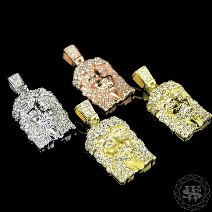 World Shine Pendant Premium 925 Sterling Silver Rose/White/Yellow Gold Finish Simulated Diamond Jesus Piece Micro Pendant 1