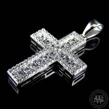 World Shine Pendant Premium 925 Sterling Silver White Gold Finish Lab Diamond Channel Prong Set Cross Pendant 1.5""